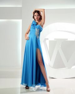 One Shoulder Beading Pleated Ankle Length Chiffon Woman Prom Dress