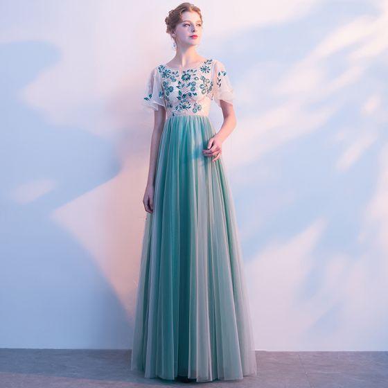Snygga / Fina Jade Grön Balklänningar 2017 Prinsessa Appliqués Beading Urringning Korta ärm Långa Formella Klänningar