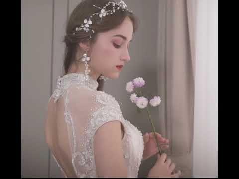 Luxus / Herrlich Champagner Brautkleider / Hochzeitskleider 2019 Ballkleid Stehkragen Perlenstickerei Perle Pailletten Kristall Spitze Blumen Ärmel Rückenfreies Rüschen Kathedrale Schleppe