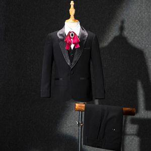 Modest / Simple Red Rhinestone Tie Black Boys Wedding Suits 2019