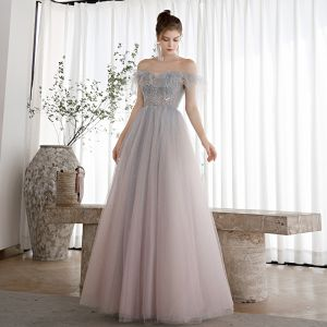 Elegant Sky Blue Gradient-Color Blushing Pink Dancing Prom Dresses 2020 A-Line / Princess Off-The-Shoulder Short Sleeve Beading Glitter Tulle Floor-Length / Long Ruffle Backless Formal Dresses