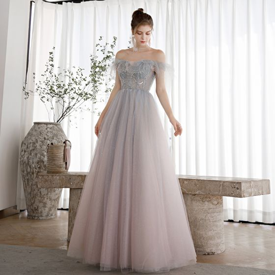 Elegant Sky Blue Gradient-Color Blushing Pink Dancing Prom Dresses 2020 A-Line / Princess Off-The-Shoulder Short Sleeve Beading Glitter Tulle Floor-Length / Long Ruffle Backless Formal Dresses