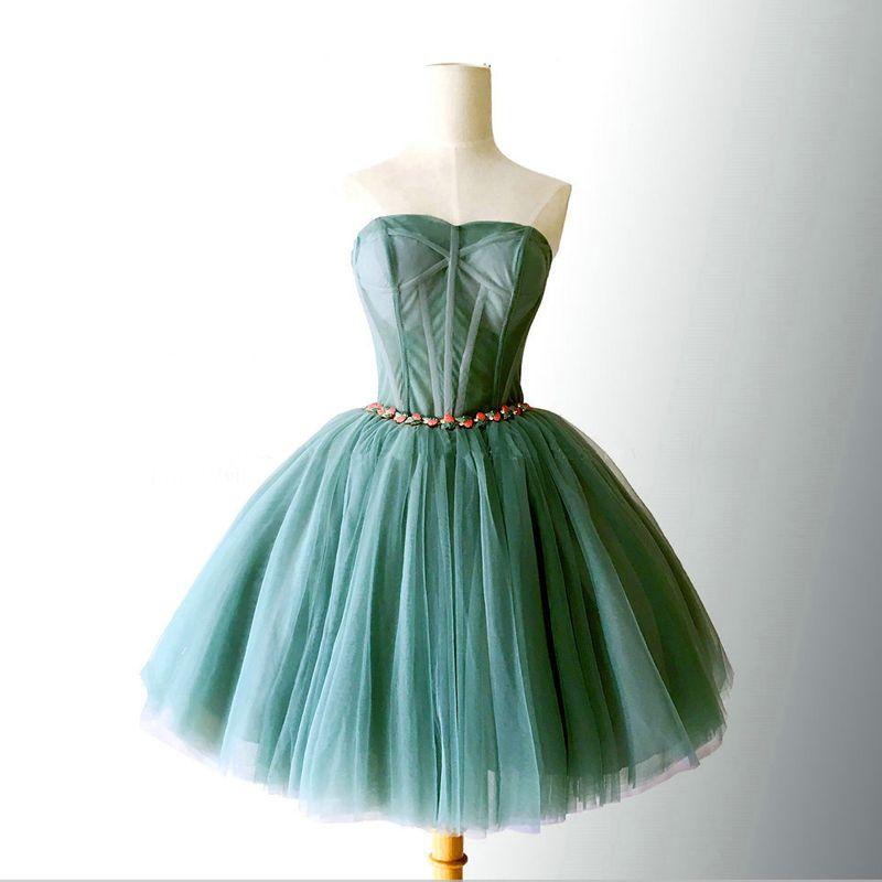 Sexy Vert Jade Robe De Cocktail 2018 Robe Boule Cristal Amoureux Sans Manches Dos Nu Courte Robe De Ceremonie