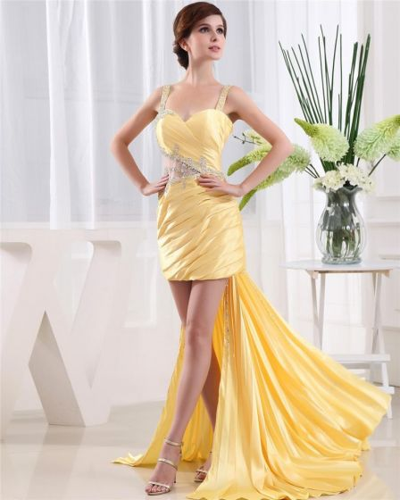 Shouder Rekawow Backless Paski Linke Asymetryczne Plisowane Kobieta Tafty Sukienki Koktajlowe