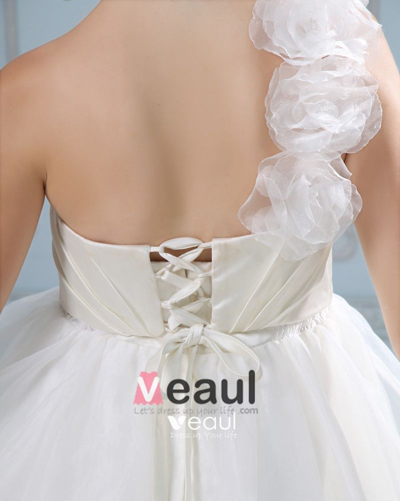 Solid One Shoulder Lace Up Back Satin Organza Ball Gown Wedding Dress