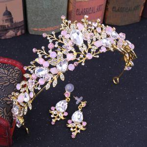 Mooie / Prachtige Blozen Roze Bruidssieraden 2020 Legering Kristal Rhinestone Oorbellen Tiara Huwelijk Accessoires