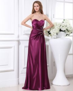 Elegant Beading Ruffles Sweetheart Charmeuse Evening Party Dress