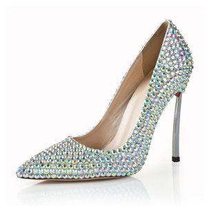 Chic / Belle Multi-Couleurs Soirée Faux Diamant Escarpins 2020 Cuir 11 cm Talons Aiguilles À Bout Pointu Escarpins