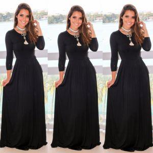 Eenvoudige Zwarte Maxi-jurken 2018 Imperium Ronde Hals Lange Mouwen Lange Dameskleding