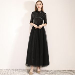 Chic / Beautiful Black Homecoming Graduation Dresses 2019 A-Line / Princess High Neck Sequins 1/2 Sleeves Ankle Length Formal Dresses
