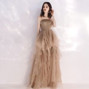 Affordable Champagne Summer Evening Dresses  2019 A-Line / Princess Shoulders Sleeveless Floor-Length / Long Cascading Ruffles Backless Formal Dresses