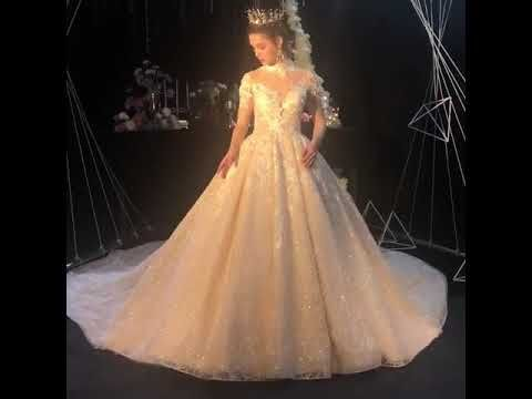 Fabulous Champagne See-through Wedding Dresses 2019 Ball Gown High Neck 3/4 Sleeve Backless Appliques Lace Beading Glitter Tulle Cathedral Train Ruffle