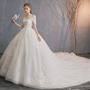 Chic / Beautiful Champagne See-through Wedding Dresses 2019 A-Line / Princess Scoop Neck Short Sleeve Beading Tassel Backless Appliques Lace Chapel Train Ruffle
