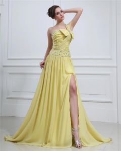 Chiffon Ruffle Beaded Bowtie One-Shoulder Floor Length Prom Dresses