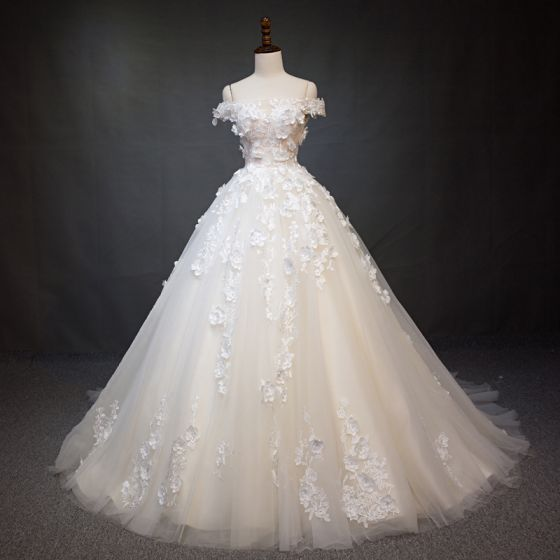 Elegant Champagne Wedding Dresses 2018 Ball Gown Appliques Pearl Off-The-Shoulder Backless Short Sleeve Royal Train Wedding