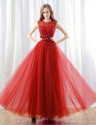 2016 Glamour Encolure Fleurs Roses Robe De Soirée Longue Avec Des Paillettes