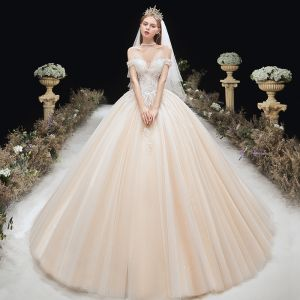Charming Champagne Wedding Dresses 2020 Ball Gown Off-The-Shoulder Beading Lace Flower Sleeveless Backless Chapel Train