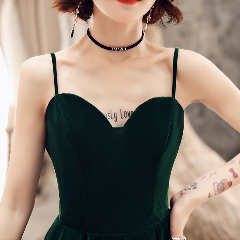 Modest / Simple Solid Color Dark Green Homecoming Graduation Dresses 2019 A-Line / Princess Spaghetti Straps Suede Sleeveless Backless Ankle Length Formal Dresses