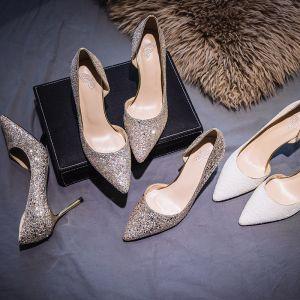 Glitter Zilveren Bruidsschoenen 2019 Pailletten 7 cm Naaldhakken / Stiletto Spitse Neus Huwelijk Hoge Hakken