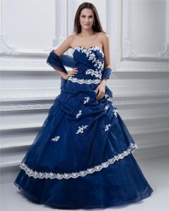 Ball Gown Sweetheart Sleeveless Floor Length Embroidery Tulle Taffeta Prom Quinceanera Prom Dress