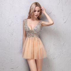 Sexy Champagne Cocktail Dresses 2019 A-Line / Princess Crystal Sequins V-Neck Backless Sleeveless Short Formal Dresses