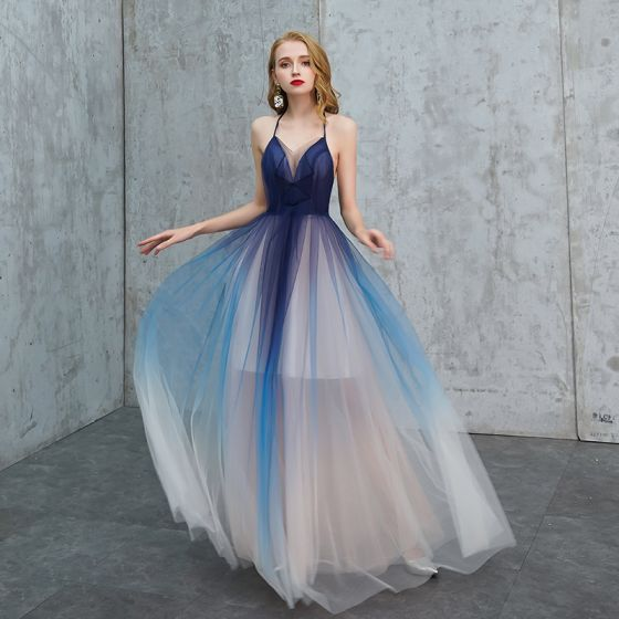 Sexy Royal Blue Gradient-Color Summer Evening Dresses  2019 A-Line / Princess Halter Sleeveless Floor-Length / Long Ruffle Backless Formal Dresses