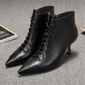 Mode Schwarz Strassenmode Leder Stiefel Damen 2020 5 cm Stilettos Spitzschuh Stiefel