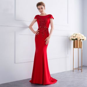 Chic / Beautiful Red Evening Dresses  2018 Trumpet / Mermaid Beading Sequins Bow Lace Flower Scoop Neck Cap Sleeves Sweep Train Formal Dresses