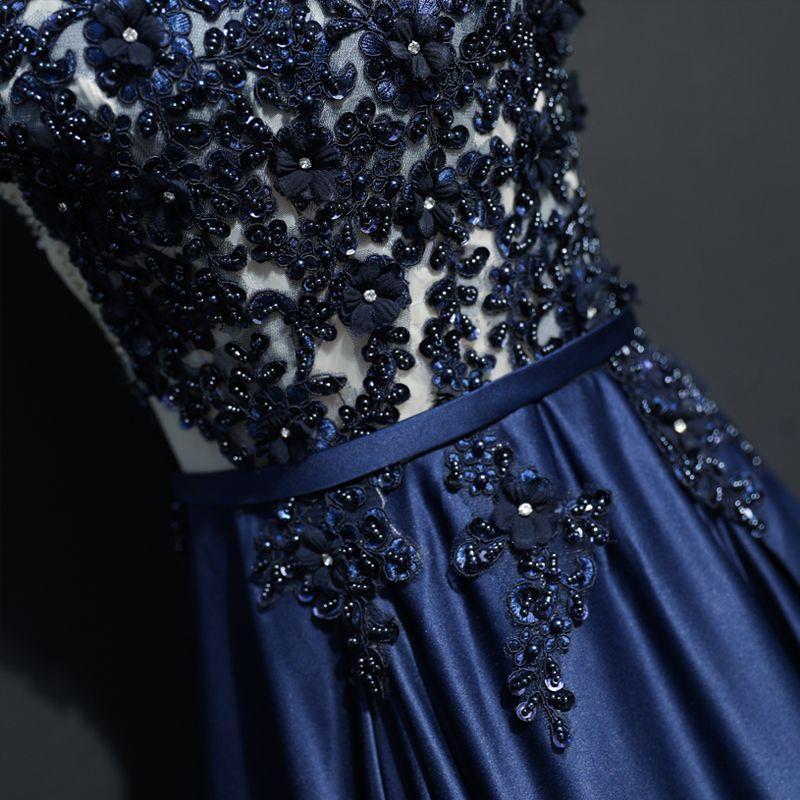 Schöne Marineblau Abendkleider 2017 A Linie Spitze U-Ausschnitt Applikationen Rückenfreies Perlenstickerei Handgefertigt Abend Festliche Kleider
