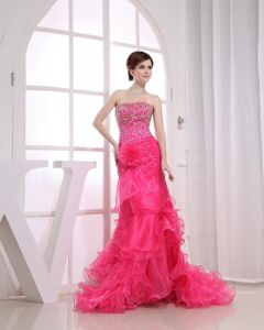Organza Beading Strapless Ruffle Sleeveless Backless Flower Court Train Tiered Prom Dress