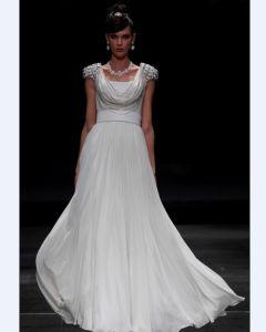 Empire Scoop Floor Length Bead Satin Composite Filament Evening Dresses