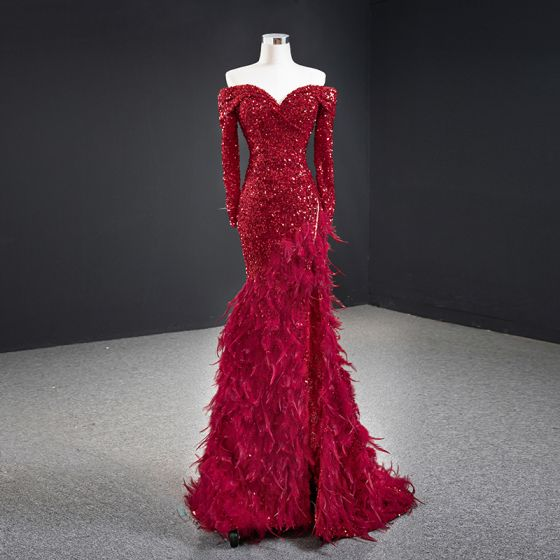 High-end Red Sequins Red Carpet Evening Dresses  2020 Trumpet / Mermaid Off-The-Shoulder Long Sleeve Feather Sweep Train Ruffle Backless Formal Dresses