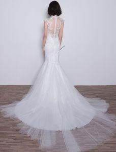 Erstaunliche Meerjungfrau Hochzeitskleider 2017 Hohe Ansatz Appliquet Spitze Sequins Brautkleider