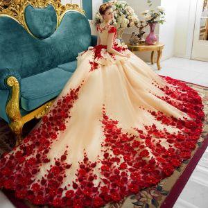 Luxus / Herrlich Champagner Brautkleider 2017 Rot Reißverschluss Applikationen Rückenfreies Stickerei Blumen Perle Strass Handgefertigt Kathedrale Schleppe Organza Eckiger Ausschnitt Ärmellos Hochzeit