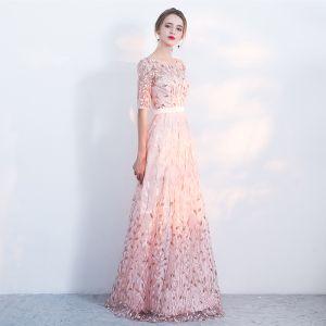 Chic / Belle Rougissant Rose Robe De Soirée 2017 Princesse de retour U-Cou Dentelle Dos Nu Appliques Impression 1/2 Manches Soirée Robe De Fete