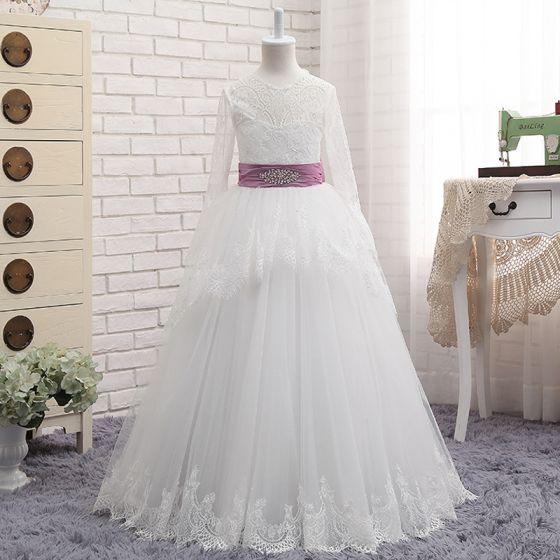 Chic / Beautiful White Flower Girl Dresses 2017 A-Line / Princess Lace Ruffle Tassel Backless Scoop Neck Bow Long Sleeve Floor-Length / Long Wedding