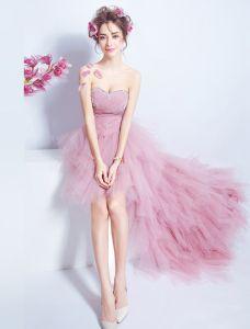 Robes De Cocktail 2017 De Belles Paillettes Chérie Perlage En Cascade De Volants De Tulle Rose Robe Asymétrique