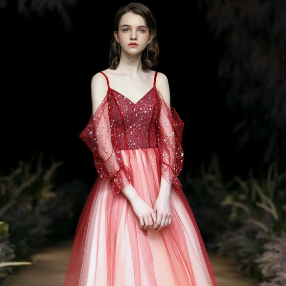 Fashion Gradient-Color Red Evening Dresses  2020 A-Line / Princess Spaghetti Straps Beading Sequins 3/4 Sleeve Backless Floor-Length / Long Formal Dresses