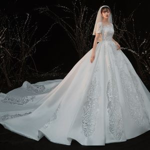 Vintage / Retro White Satin Bridal Wedding Dresses 2020 Ball Gown See-through Scoop Neck Short Sleeve Backless Beading Pierced Appliques Lace Cathedral Train