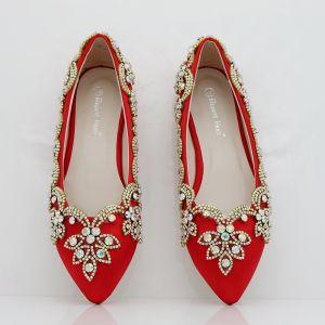 Style Chinois Rouge Chaussure De Mariée 2018 Faux Diamant À Bout Pointu Plate Mariage