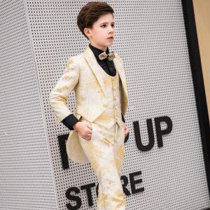 Elegant Glitter Tie Gold Boys Wedding Suits 2019