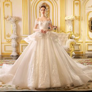 Luxury / Gorgeous Ivory Wedding Dresses 2019 Princess Off-The-Shoulder Short Sleeve Backless Appliques Lace Glitter Tulle Cathedral Train Ruffle