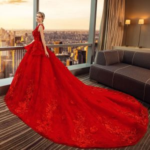 Luxury / Gorgeous Red Wedding Dresses 2018 Ball Gown Appliques Lace Flower Rhinestone Scoop Neck Backless Sleeveless Royal Train Wedding