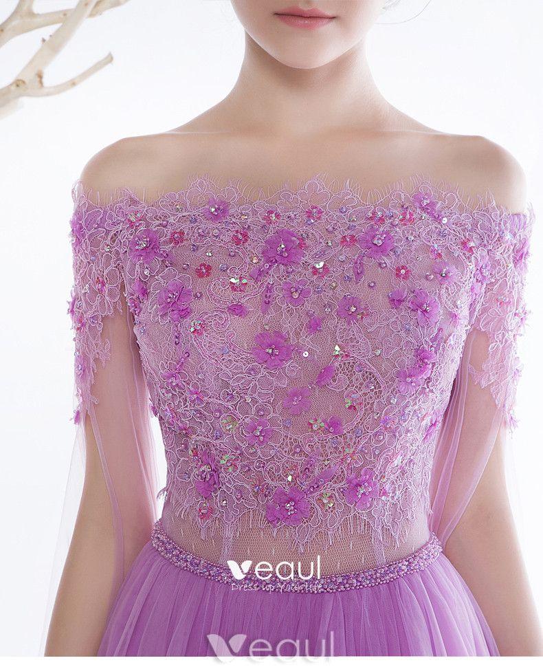 Glamorous Evening Dresses 2017 Off The Shoulder Applique Flowers Beading Rhinestones Dress With Long Sleeves Train