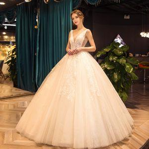 Elegant Champagne Wedding Dresses 2019 Ball Gown Scoop Neck Beading Sequins Lace Flower Sleeveless Backless Floor-Length / Long