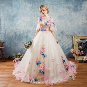 Amazing / Unique Outdoor / Garden Wedding Dresses 2017 White Ball Gown Chapel Train 1/2 Sleeves Scoop Neck Backless Lace Appliques