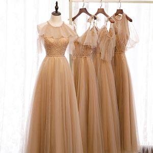 Piękne Brązowy Sukienki Dla Druhen 2020 Princessa Kótkie Rękawy Bez Pleców Frezowanie Szarfa Długie Wzburzyć