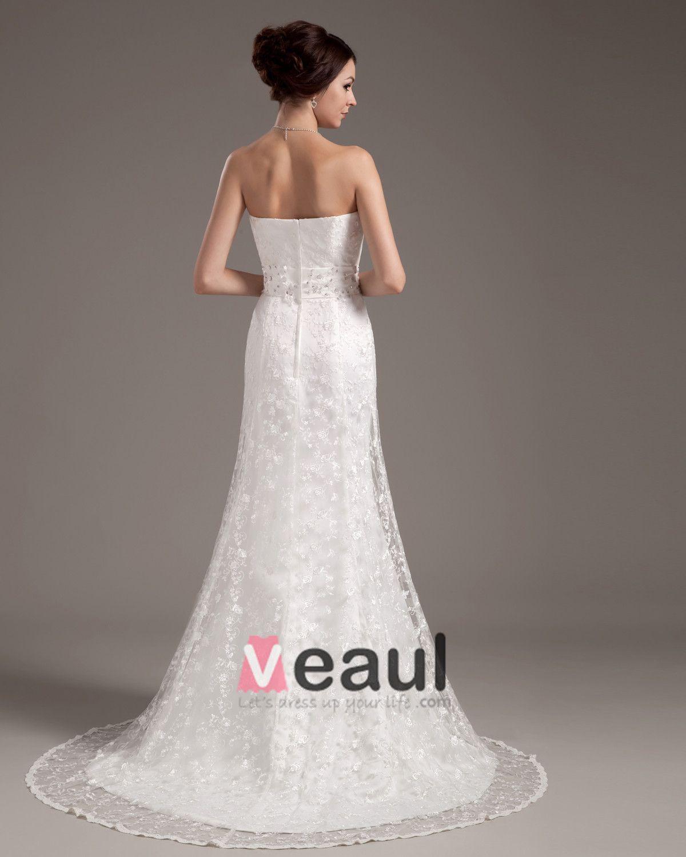 Satin Lace Sweetheart Chapel Bridal High Waist Wedding Dresses