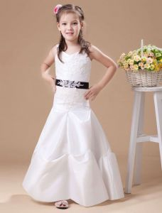 White A-line Spaghetti Taffeta Floor Length Flower Girl Dress