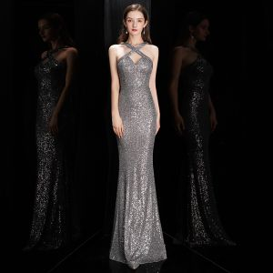 Fashion Grey Sequins Evening Dresses  2020 Trumpet / Mermaid Halter Sleeveless Floor-Length / Long Backless Formal Dresses